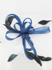 Navy Blue Mesh Ribbon Bow and Feather Comb Fascinator