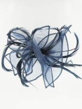 Navy Blue Organza and Feather Comb Fascinator