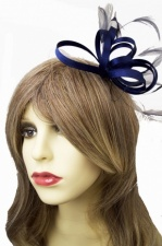 Navy Blue Satin Loop & Feather Comb Fascinator