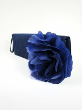 Navy Blue Sinamay and Flower Clutch Bag