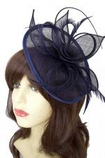 Navy Blue Sinamay Hat Fascinator with Hairband & Clip