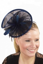 Large Navy Blue Sinamay Twist & Feather Hairband Fascinator