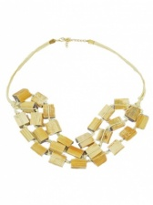 Light Brown Wooden Cube Bead Layered Ethnic Necklace