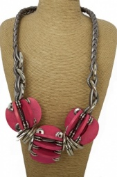 Very Large Pink and Silver Chunky Fashion Necklace