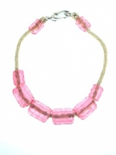 Chunky Pink Acrylic Bead and Rope Fashion Necklace