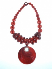 Very Large Red Acrylic Statement Quality Fashion Necklace