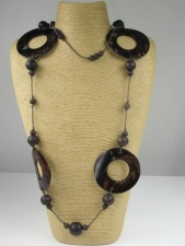 Long Brown Rustic Shell and Bead Necklace