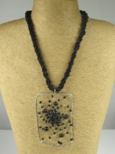 Black Bead and Silver Pendant  Fashion Necklace
