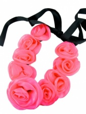 Pink Organza Rose Necklace with Ribbon