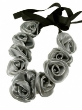 Silver Organza Rose Necklace with Ribbon