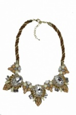 Gold & Nude Tone Sparkling Fashion Necklace