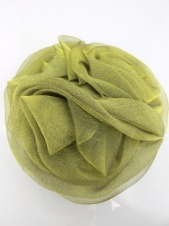 Olive Green Organza Triple Hair Flower and Brooch