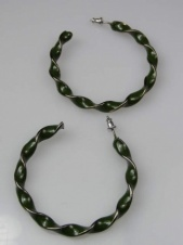 Olive Green Spiral Hoop Fashion Earrings