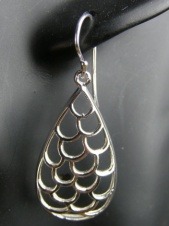 Open Metalwork Drop 925 Sterling Silver Earrings
