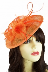 db7a08fa4f48f Orange Saucer Hairband Hat with Quill   Clip