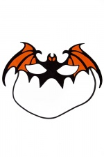 Black & Orange Fun Halloween Bat Mask with Elastic