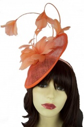 3e4c22080621a Orange Mary Poppins Hat Fascinator with Feather Flowers
