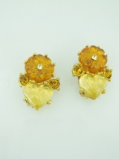 Orange and Yellow Flower and Heart Clip Earrings