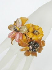 Orangey Brown Leather Flower and Stone Cuff