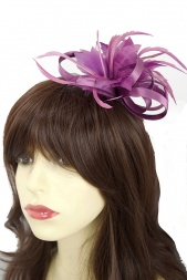 Orchid Purple  Flower Feather & Satin Loop Comb Fascinator