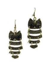 Gold Long Owl Earrings with Hooks