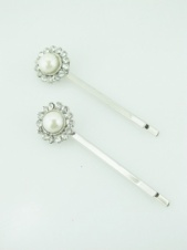 Pair of Faux Pearl and Crystal Flower Hair Grips