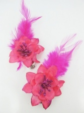 Pair of Pink Hair Flowers with Glitter and Feathers