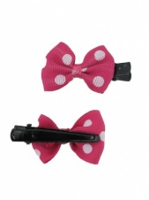 Pair of Pink and White Polka Dot Bow Hair Clips