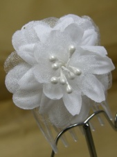 Pair of White Organza Flower Bridal Combs