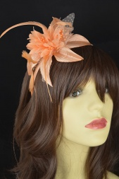 Nude/Peach Flower and Feather Hairband Fascinator
