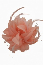 Peach Flower, Feather & Bead Clip Fascinator