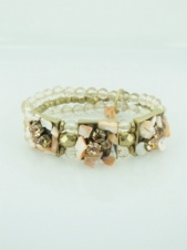 Peach and Gold Elasticated Pretty Fashion Bracelet