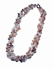 Lavender Pearl and Crystal Triple Strand  Necklace