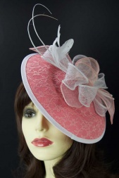 Pink & White Saucer Hat with Quills