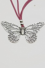 Silver Butterfly Pendant with Pink Suede Cord Necklace
