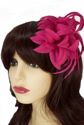 Pink Flower & Feather Clip Fascinator