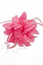 Pink Flower, Feather & Bead Clip Fascinator