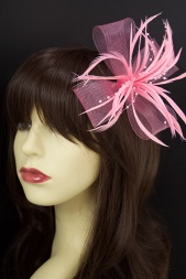 Pink Feather and Mesh Bow Fascinator