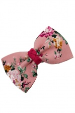 Pretty Pink Chintz Flower Print Bow Hair Clip