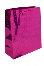 Medium Pink Foil Hologram Christmas Gift Bag