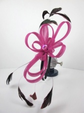 Pink Mesh Hairband Fascinator with Acrylic  Stone & Feathers