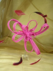 Pink Mesh Ribbon Bow and Feather Comb Fascinator