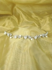 Pretty Faux Pearl and Crystal Flower Vine Hairband Tiara