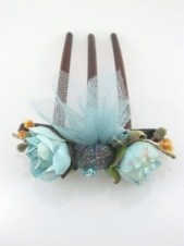 Pretty Pale Blue Rose Bud Hair Comb