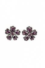 Purple Crystal Flower Stud Fashion Earrings