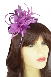 Purple Orchid Satin Loop & Flower Hairband Fascinator