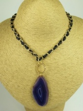 Purple Agate Pendant with Gold Chain and Ribbon Necklace
