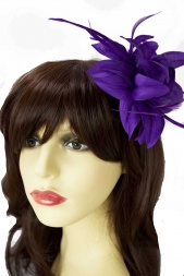 Purple Flower & Feather Clip Fascinator