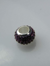 Purple Crystal 925 Sterling Silver Charm Bead