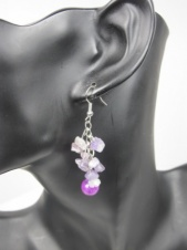 Purple Semi Precious Dangly Earrings